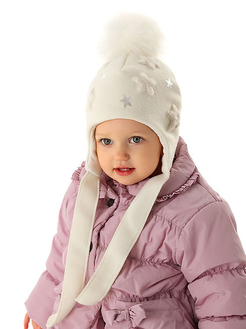 Ivory Winter Hat with Stars