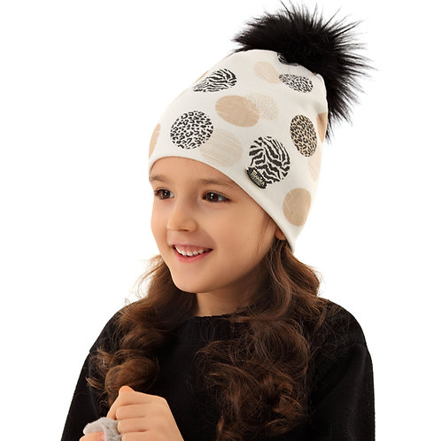 Ivory with Animal Print Dots Girls Hat