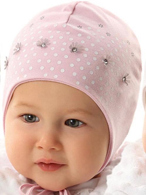 Pink Daisies Polka Dot Baby Girls Hat