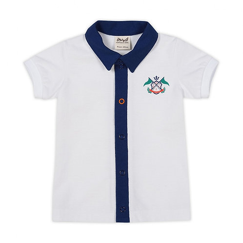 Cotton White Golf Polo T-Shirt with Navy Collar