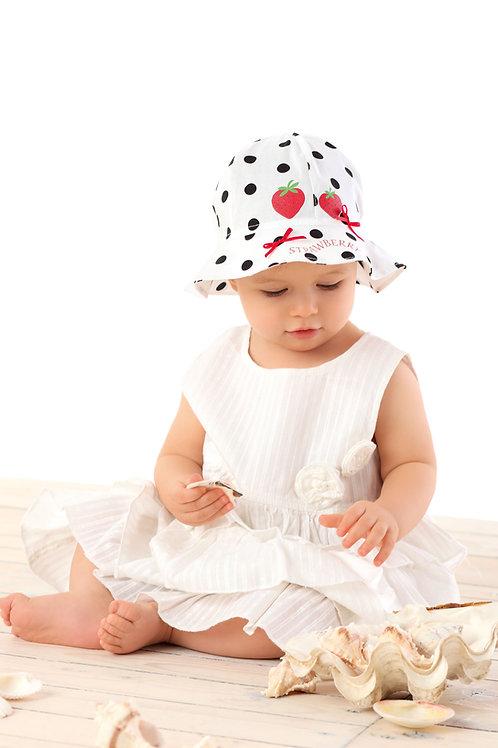 White/Black Strawberries Summer Hat