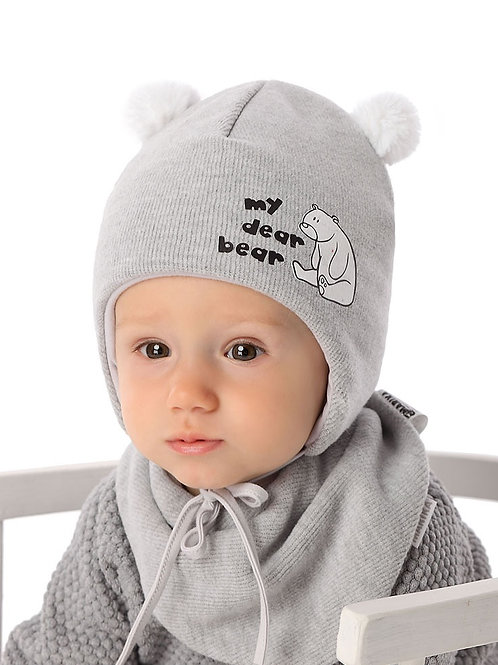 Grey Dear Bear Winter Hat