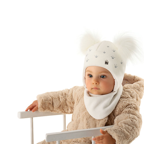 Ivory Baby Girls Hat with Silver Crowns