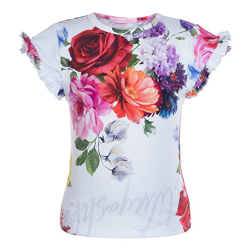 White T-shirt with Gorgeous Summer Flowers