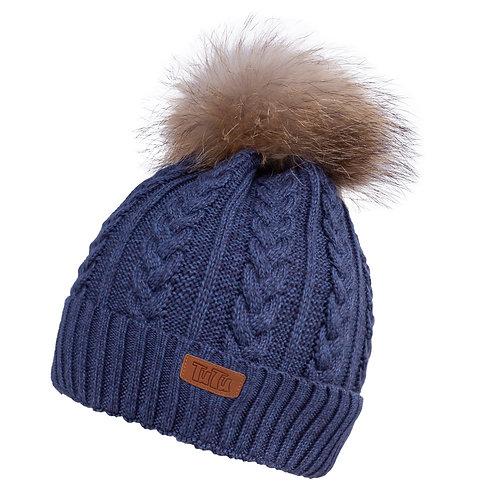 Dark Blue Teen to Adult Knit Hat w/Tube