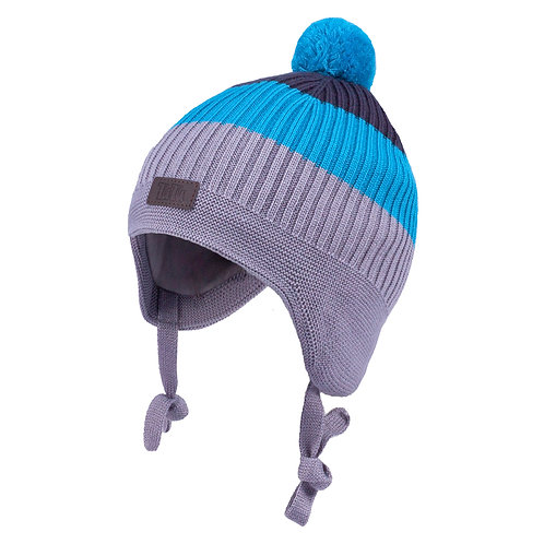 Turquoise/Grey Boys Knit Hat