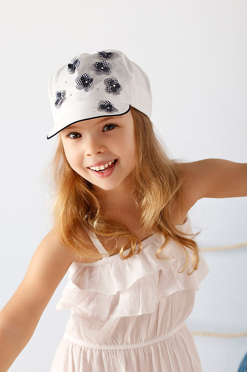 White Summer Cap w/Navy Check & Polka Dot Flowers