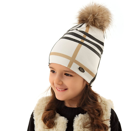 Ivory w/Beige & Grey Check Girls Hat