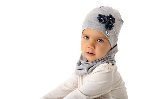 Grey Denim Daisy Girls Hat
