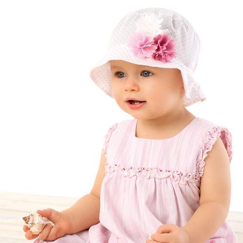 White w/pink polka Dot Summer Hat