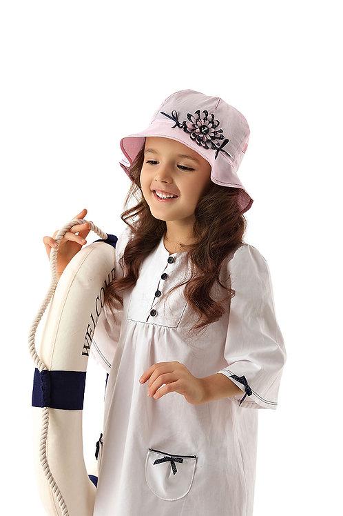 Pink Anchor Flower Summer Girls Hat