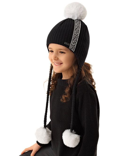 Black w/Leopard Stripe Winter Hat