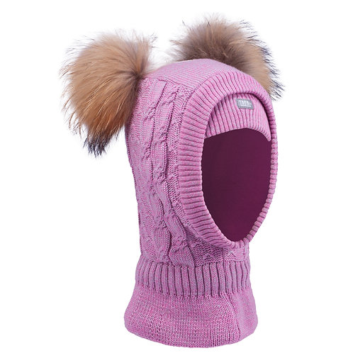 Heather Pink Girls Knit Pullover Hat