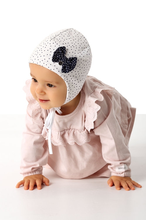 White Polka Dot Baby Girls Hat