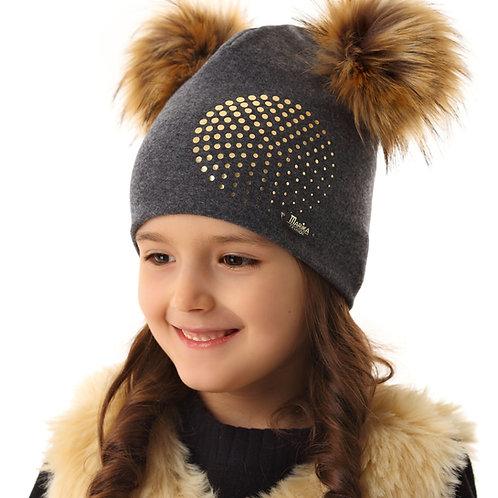 Grey Girls Hat with 2 Auburn Pom Poms