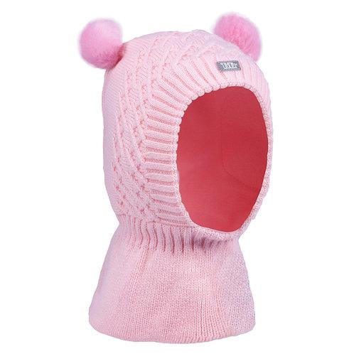Pink w/2 Pom Poms Girls Knit Pullover Hat