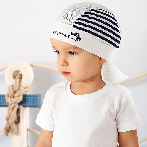 White Pirate Summer Hat with Navy Stripes