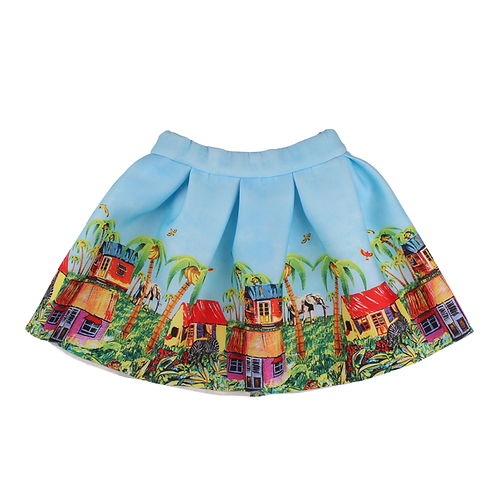 Lt. Blue Neoprene Skirt with Safari Print
