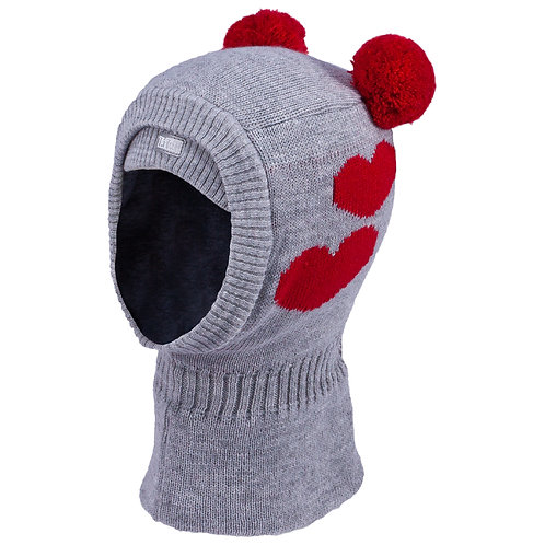 Grey with Red Hearts Girls Knit Pullover Hat