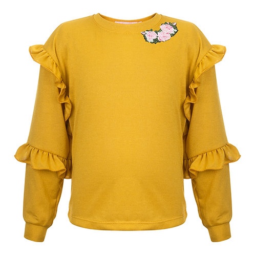 Yellow Flirty Top with Roses