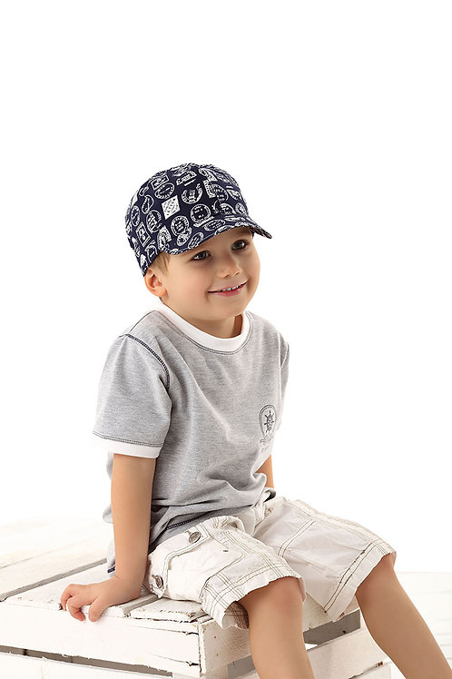 Navy Stamped Boys Summer Cap