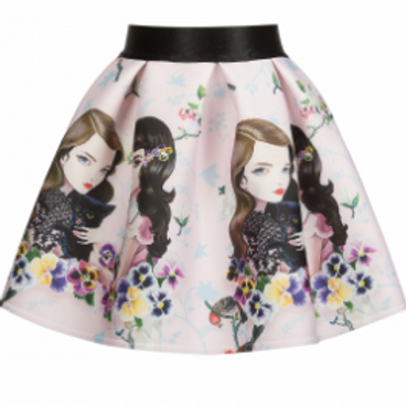 Ivory Skirt with Girls & Spring Flowers