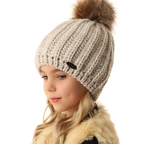 Oatmeal Knit Ribbed Girls Hat