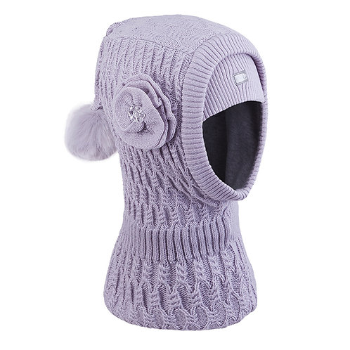 Grey w/Flower Girls Knit Pullover Hat