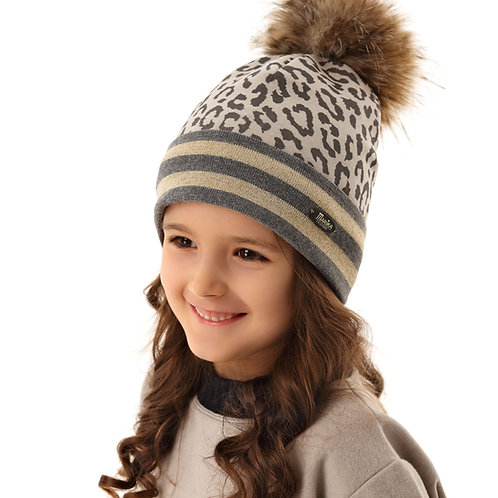 Leopard with Gold Stripes Girls Hat