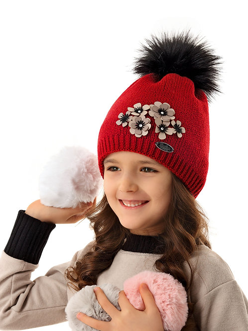 Red with Beige Flowers Girls Hat