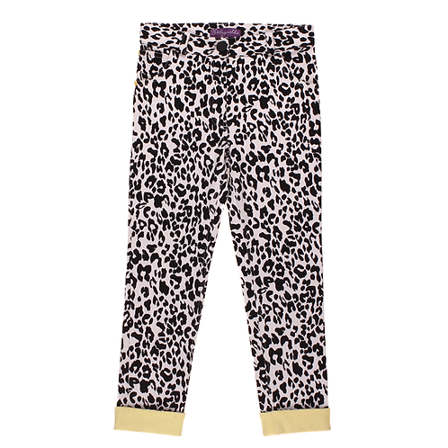 Leopard Print Pants with Yellow Cuffs