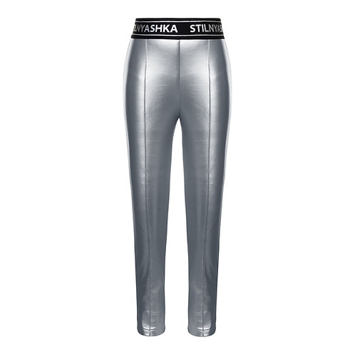 Silver Eco Leather Warm Leggings