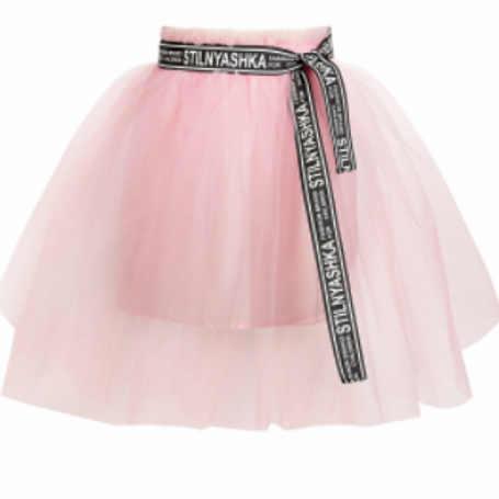Pink Tulle Puffy Skirt with Printed belt