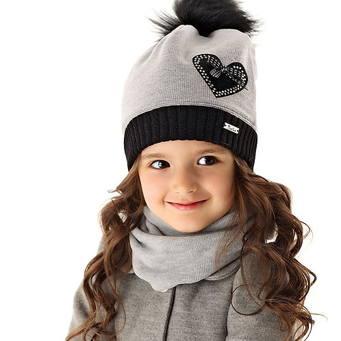 Grey with Heart Winter Hat