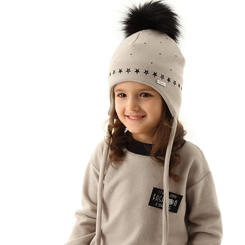Lt. Grey Girls Hat with Stars