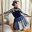 Thumbnail: Navy Velour Top & Gold/Navy Skirt