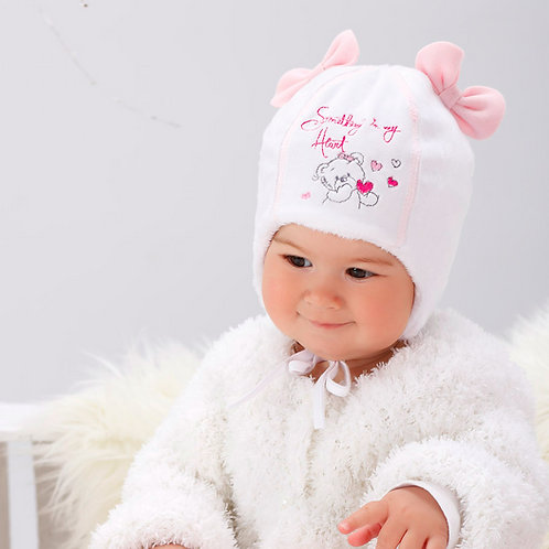 Hat With Teddy Bear and 2 Bows