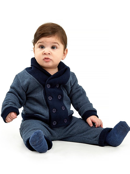 Navy Plush Cotton Cardigan & Pant Set