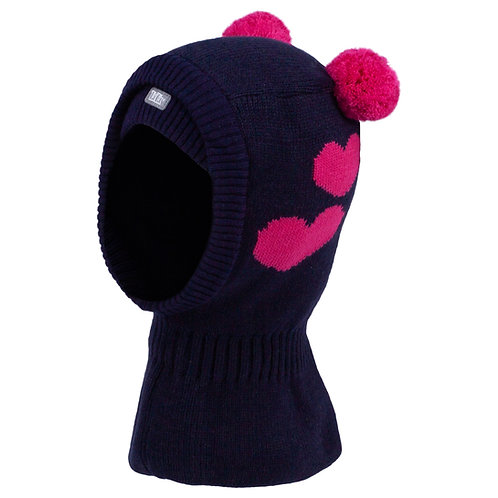 Navy w/Pink Hearts Girls Knit Pullover Hat
