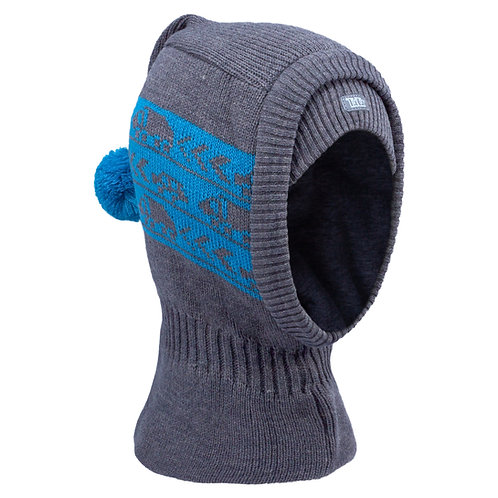 Turquoise/Grey Boys Knit Pullover Hat