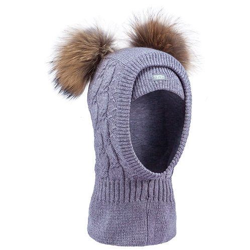Grey Girls Knit Pullover Hat