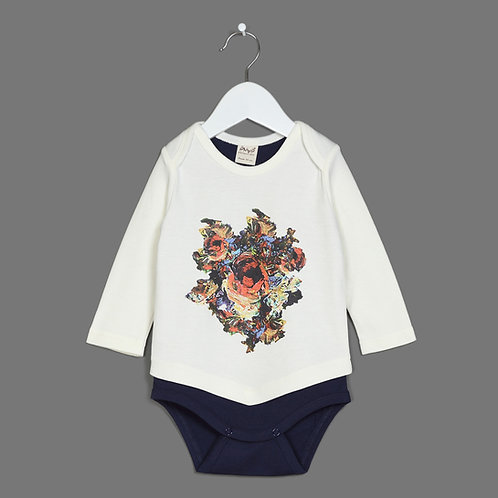 Long Sleeve Flower Combo Bodysuit