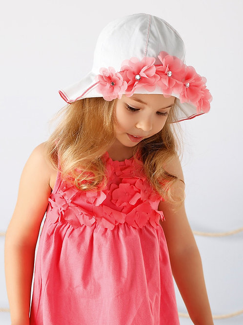 White Summer Hat with Peach Flowers & Studs