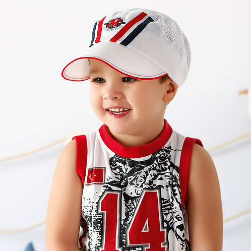 White Summer Cap with Red & Blue Stripes