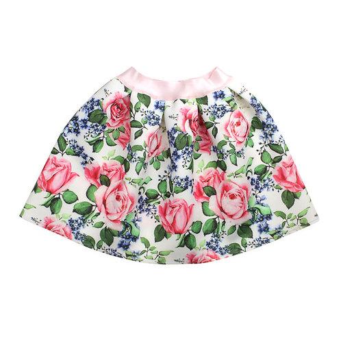 White Neoprene Skirt Pink Roses & Lilacs print