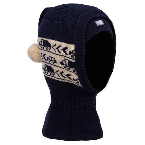 Navy/Ivory Boys Knit Pullover Hat