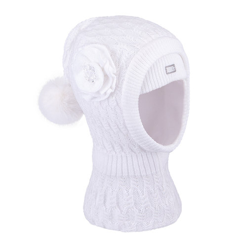 White w/Flower Girls Knit Pullover Hat