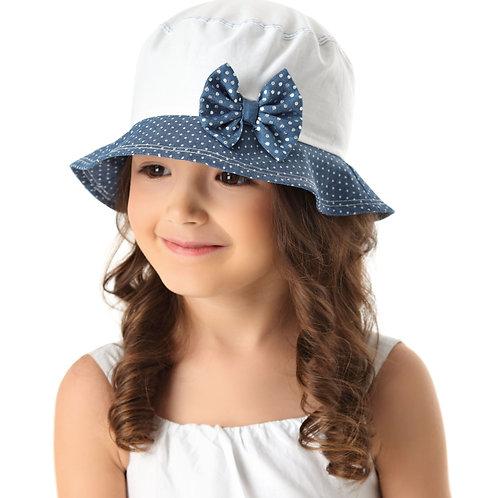 White/Denim Polka Dot Summer Girls Hat