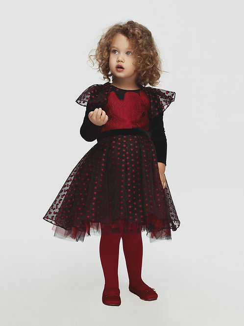 Black with Red Flowers & Polka Dots Dress