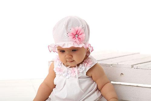 Pink Polka Dot w/Flower Baby Girls Hat